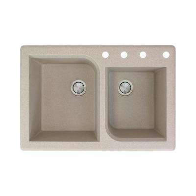 Radius Drop-in Granite 33 in. 4-Hole 1-3/4 Offset Double Bowl Kitchen Sink in Cafe Latte
