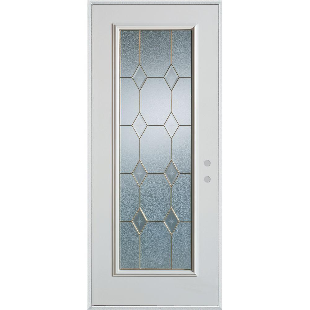 32 in. x 80 in. Geometric Patina Full Lite Painted White
