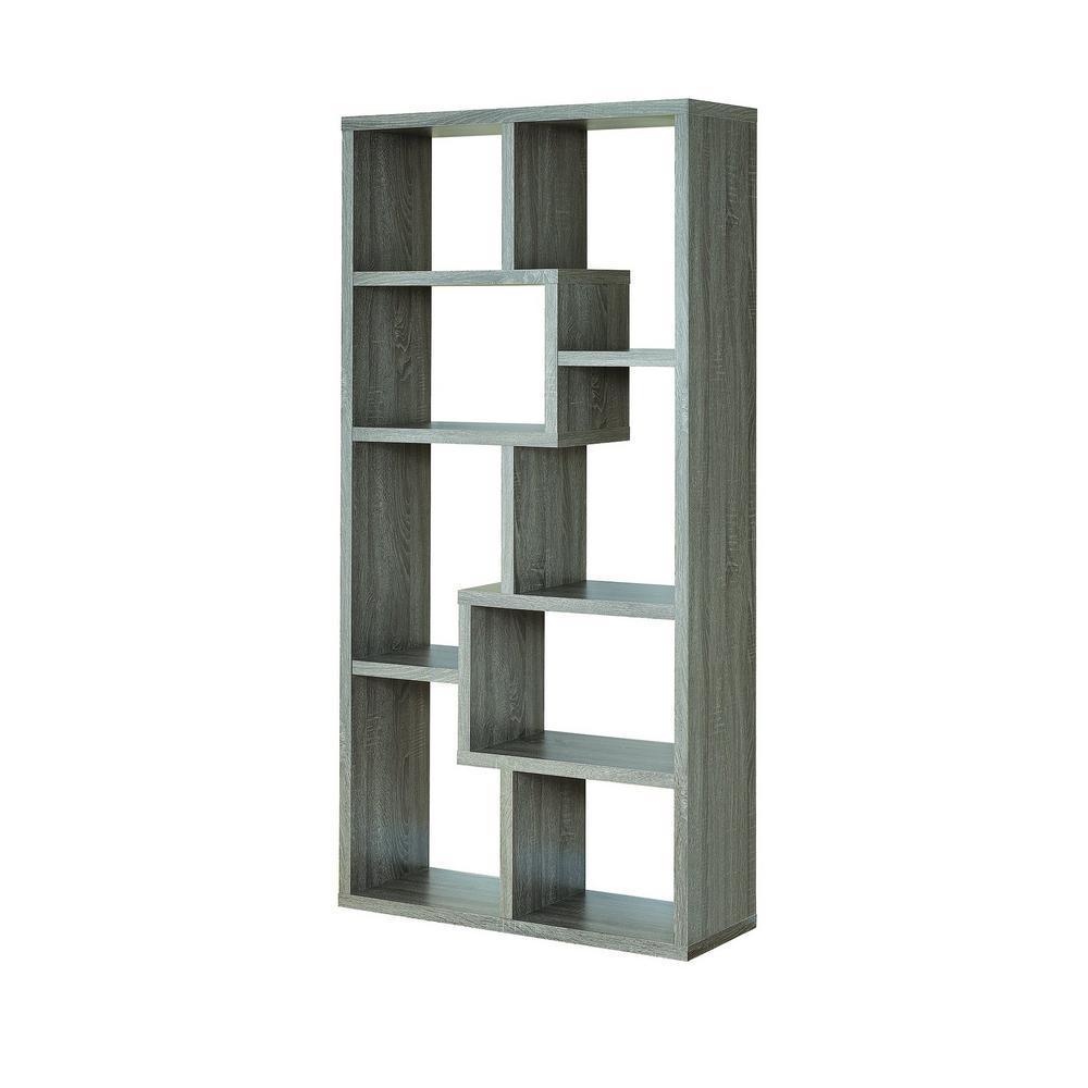 Coaster Grey Bookcase Multiple Cubed Rectangular Weathered 800510