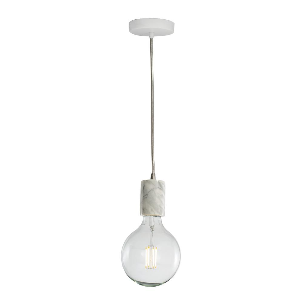 Bulbrite 1-Light White Natural Marble Pendant Socket and Canopy with ...