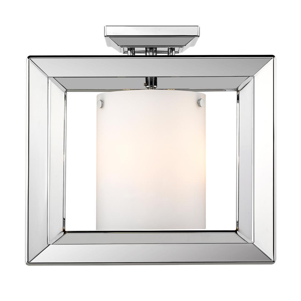 Smyth CH 3-Light Chrome Semi-Flushmount with Opal Glass