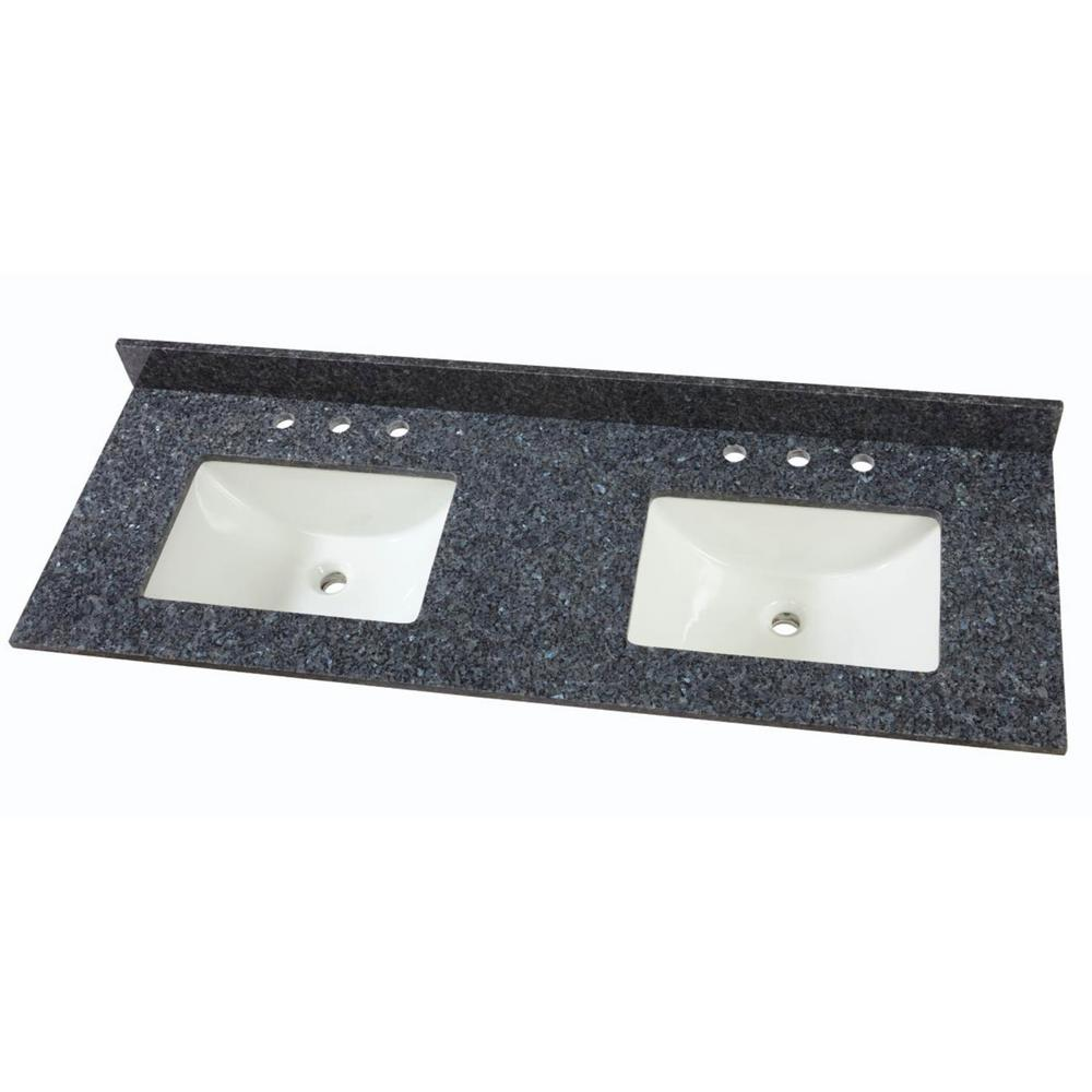 Home Decorators Collection 61 In W Granite Double Sink Vanity Top In Blue Pearl With White Trough Sinks 64905 The Home Depot