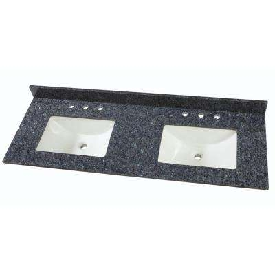 61 in. W Granite Double Basin Vanity Top in Blue Pearl with White Trough Basins