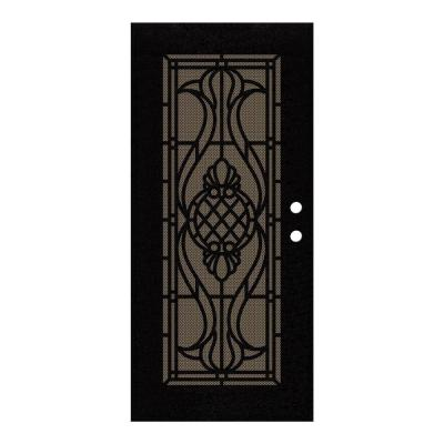36 in. x 80 in. Manchester Black Left-Hand Surface Mount Security Door with Brown Perforated Metal Screen