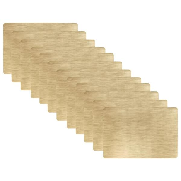 19 in. x 13 in. Bronze Metallic Stitched PVC Placemats (Set of 12)