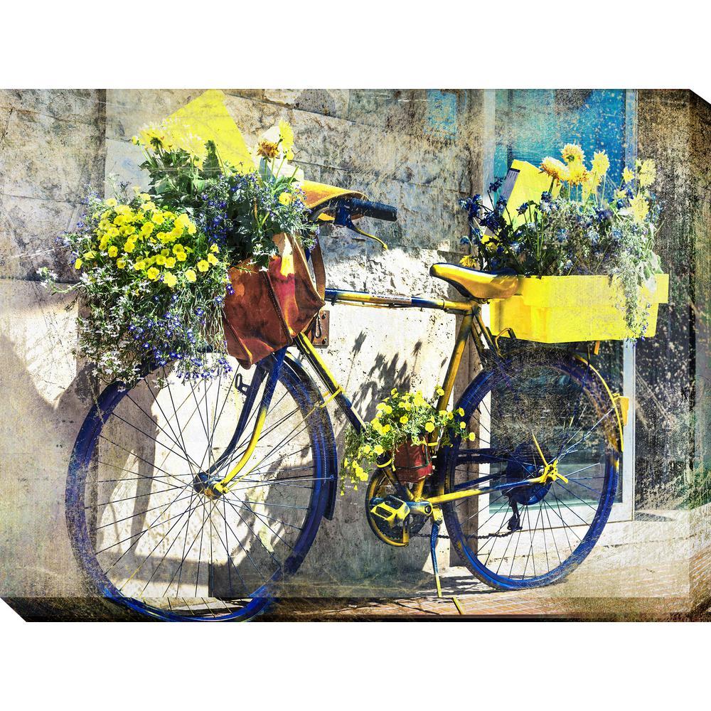 outdoor canvas art. Blue \u0026 Yellow Bike Outdoor Canvas Art