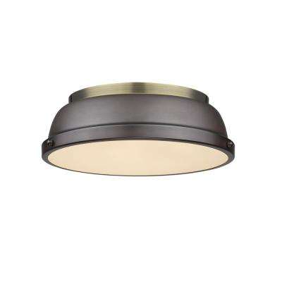 Duncan AB 2-Light Aged Brass Flush Mount Light