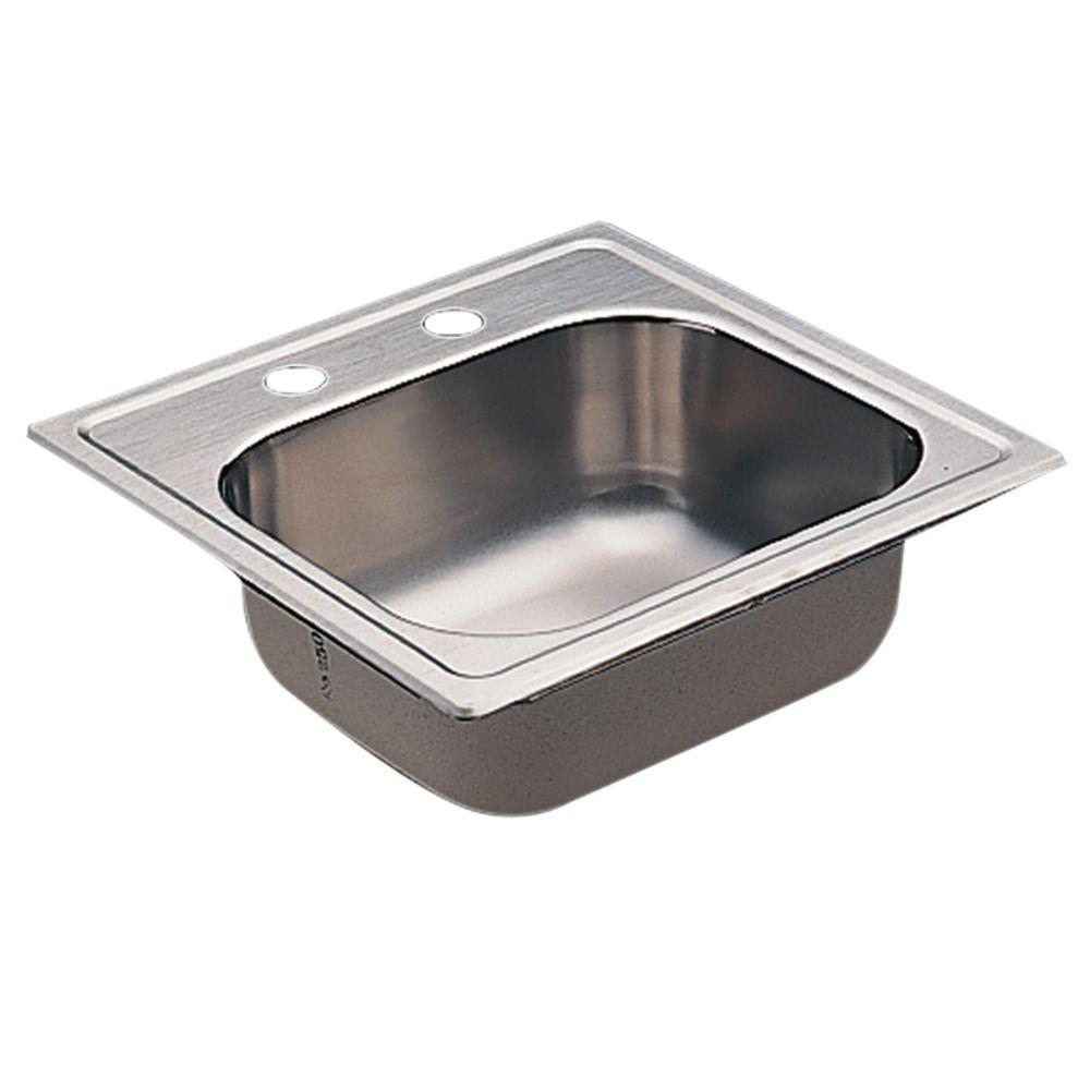 2000 Series Drop-in Stainless Steel 15 in. 2-Hole Bar Single Bowl