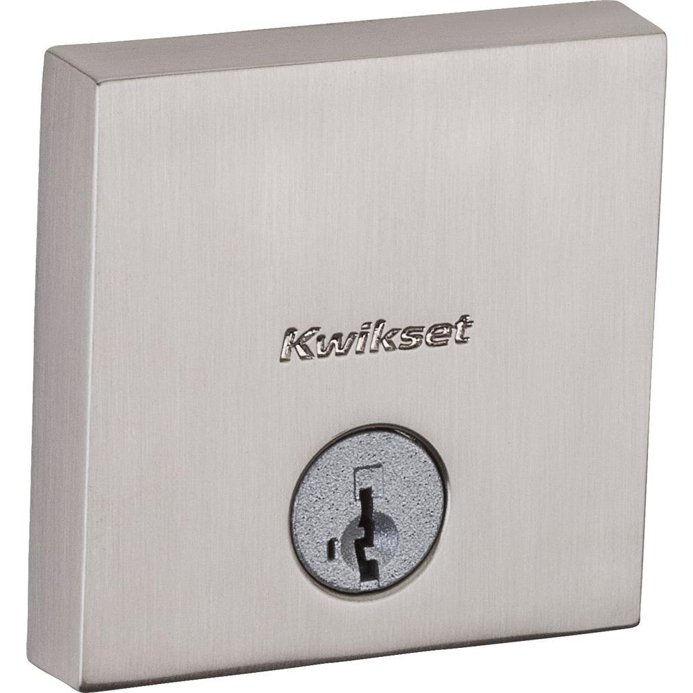 Kwikset Downtown Low Profile Satin Nickel Single Cylinder Square Contemporary Deadbolt Featuring Smartkey Security