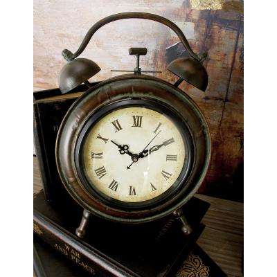 10 in. x 7 in. Vintage Brown and Tan Round Table Clock with Alarm