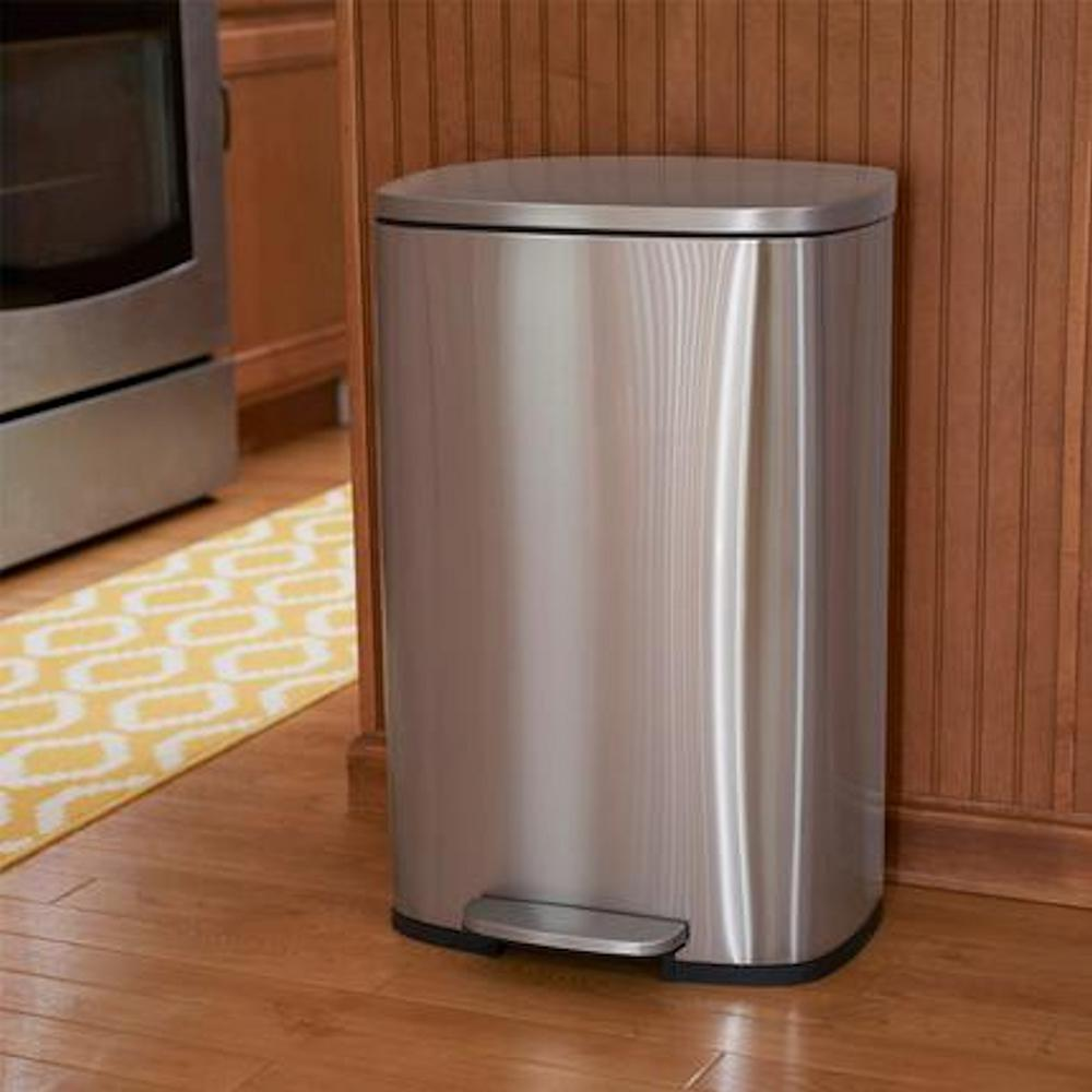 Household Essentials 50 l/13 Gal. Rectangular Stainless Steel Trash Can  Large Kitchen Trash Can with Step Soft Close Lid