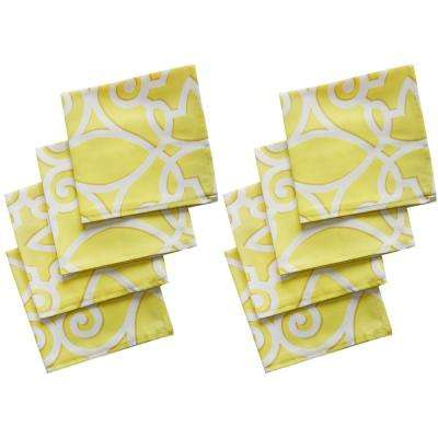 17 in. W x 17 in. L Lime Chase Geometric Stain Resistant Indoor Outdoor Napkins (Set of 8)