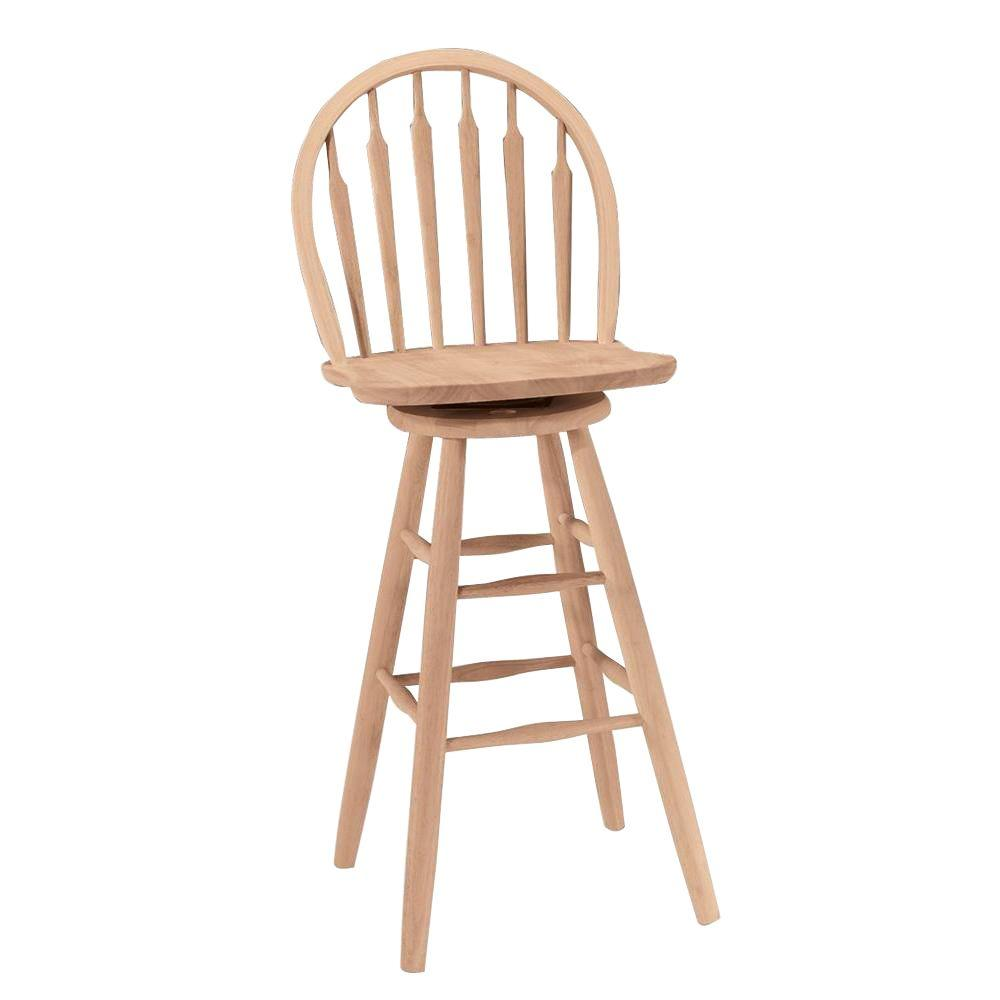 30 In Unfinished Wood Swivel Bar Stool