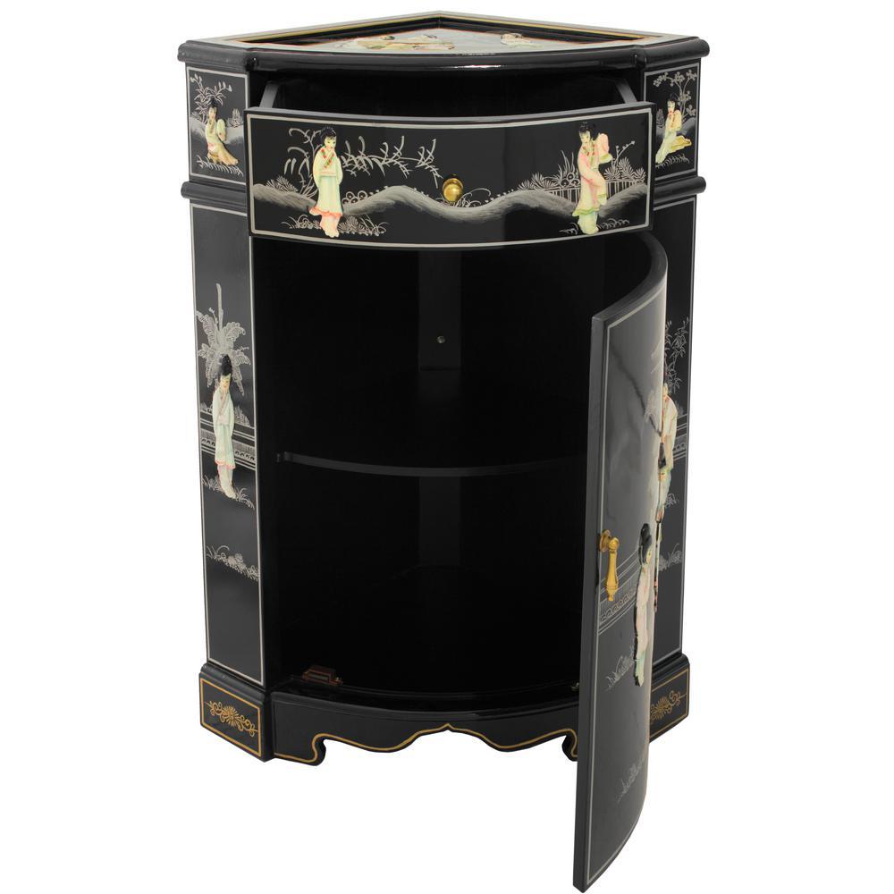 Oriental Furniture Black Lacquer Small Corner Cabinet