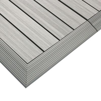 1/6 ft. x 1 ft. Quick Deck Composite Deck Tile Outside Corner Fascia in Icelandic Smoke White (2-Pieces/Box)