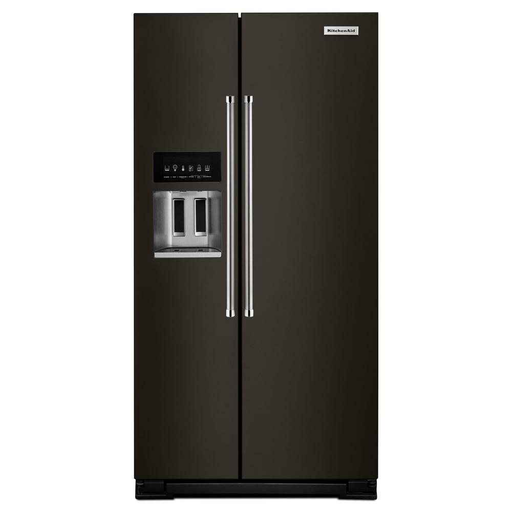 KitchenAid 22.7 Cu. Ft. Side By Side Refrigerator In PrintShield Black Stainless With Exterior