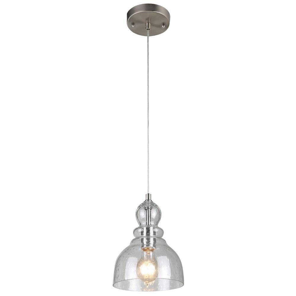 Nickel blown glass pendant lights lighting the home depot 1 light brushed nickel adjustable mini pendant with hand blown clear seeded glass aloadofball Images