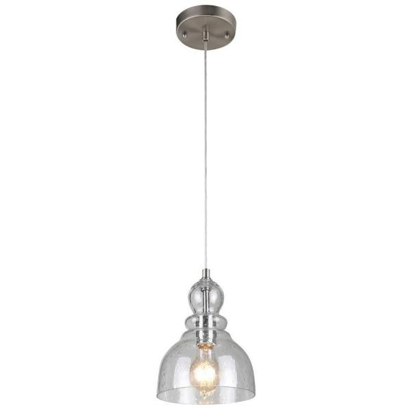 1-Light Brushed Nickel Adjustable Mini Pendant with Hand-Blown Clear Seeded Glass