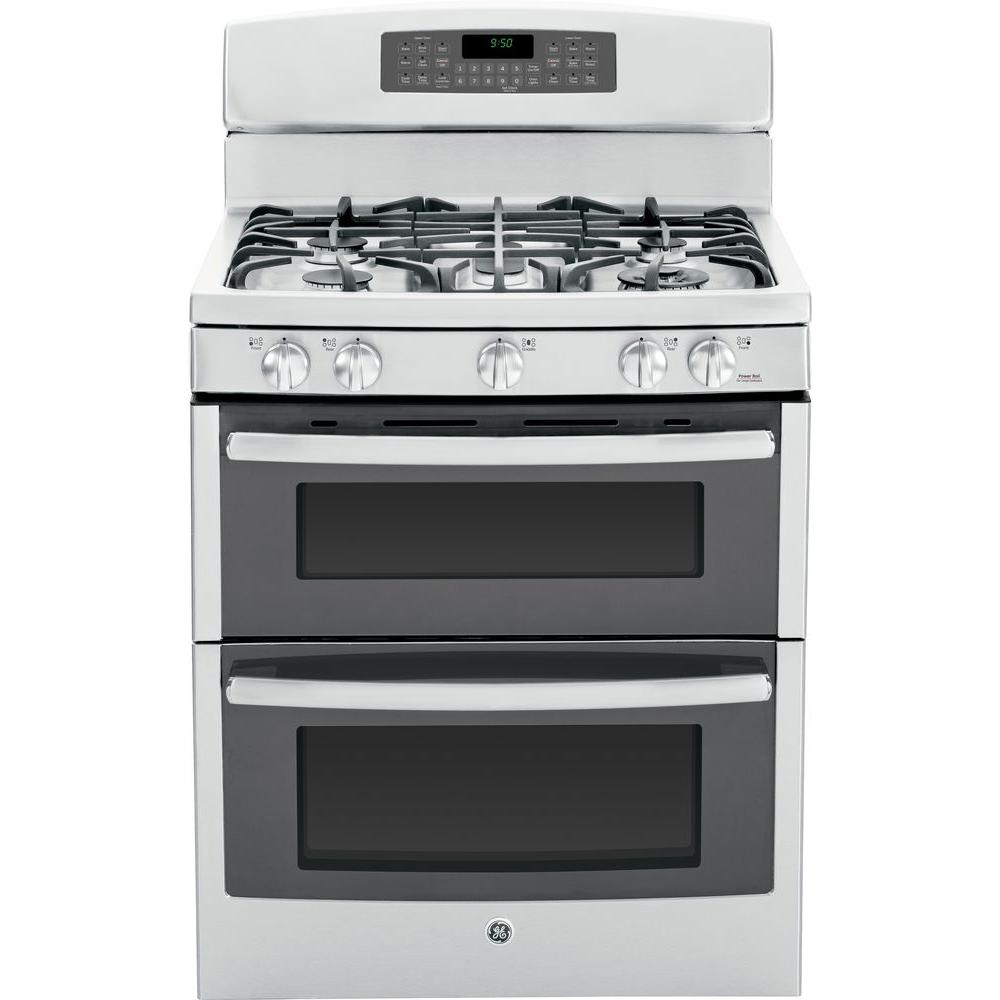 GE Profile 6.8 cu. ft. Double Oven Gas Range with Self-Cleaning Convection Lower Oven in Stainless Steel