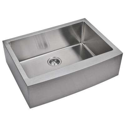 Farmhouse Apron Front Small Radius Stainless Steel 30 in. Single Bowl Kitchen Sink in Satin