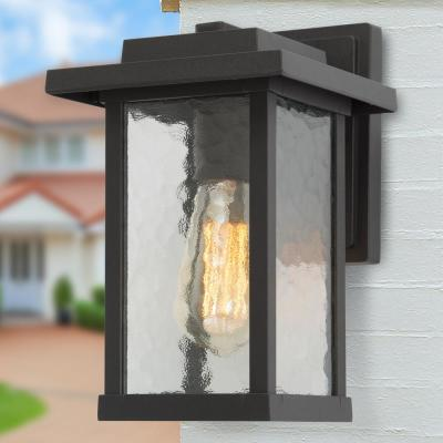 Craftsman 11 in. H 1-Light Textured Black Outdoor Wall Lantern Sconce with Water Glass Shade Exterior Light Fixture