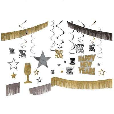 New Year's Black, Silver, and Gold Giant Room Decorating Kit (28-Count)
