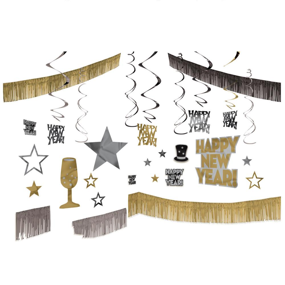 New Year's Black, Silver, and Gold Giant Room Decorating ...