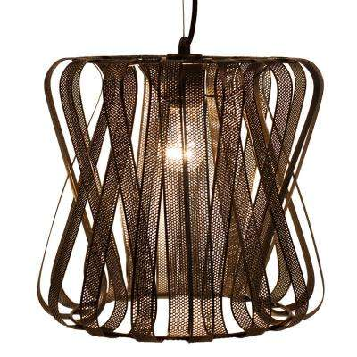 1-Light Brown East Village Industrial Metal Pendant