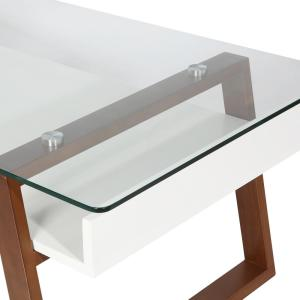 aec0388251ae5 Poly and Bark Segovia Walnut Glass Top Coffee Table-HD-325-WAL - The ...