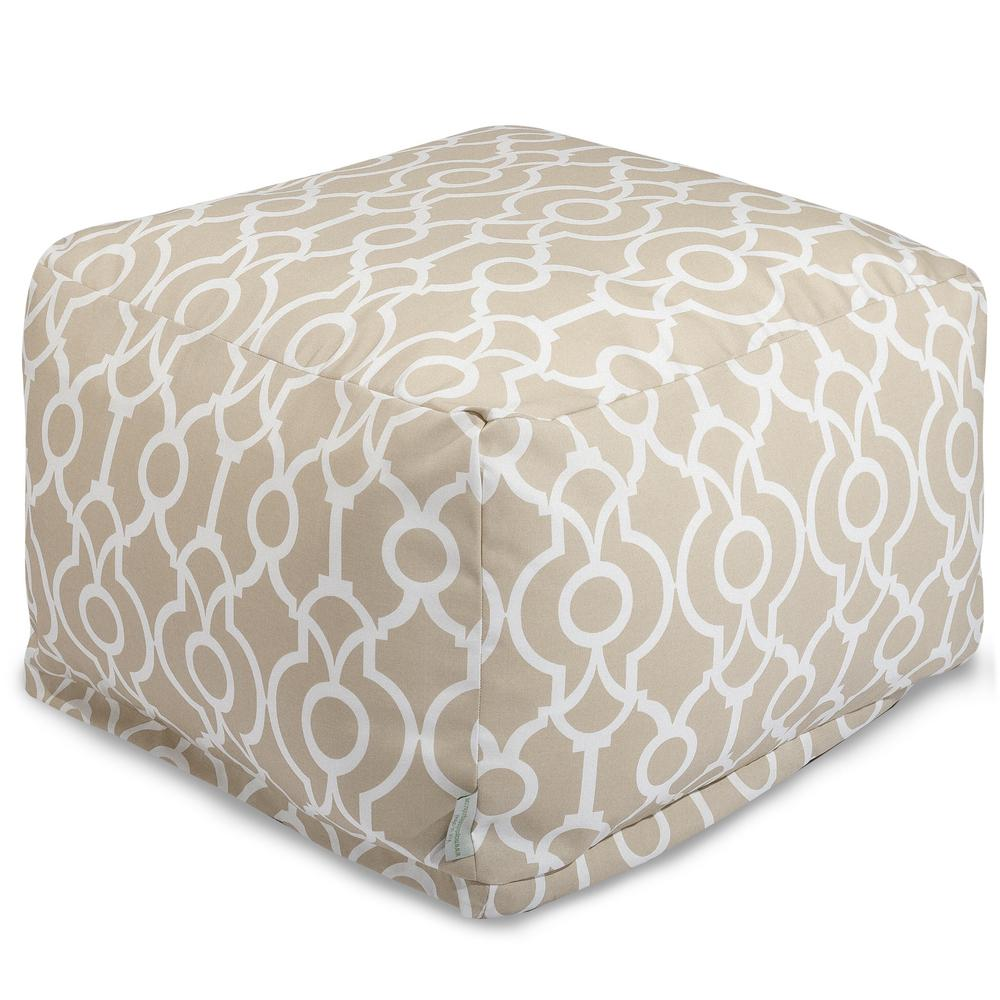 Majestic Home Goods Sand Athens Indoor/Outdoor Ottoman Cushion