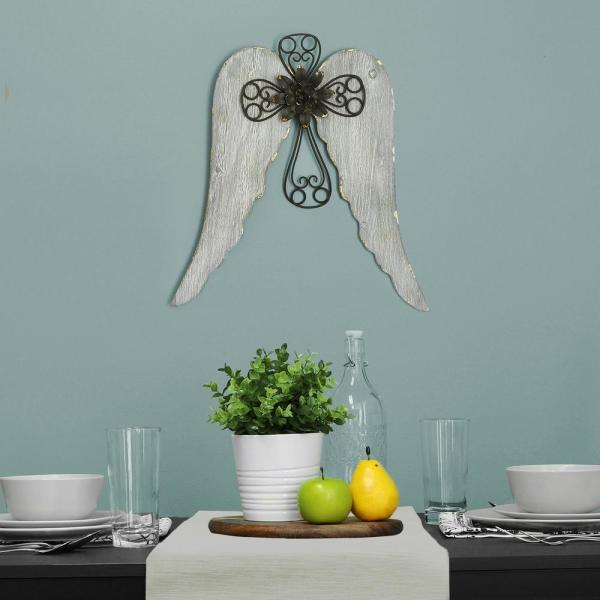 Stratton Home Decor Angel Wings With Cross Metal Wall Decor S11568