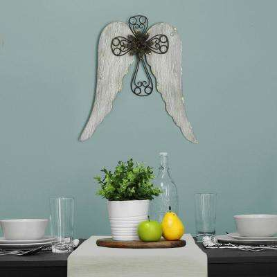 Angel Wings with Cross Metal Wall Decor