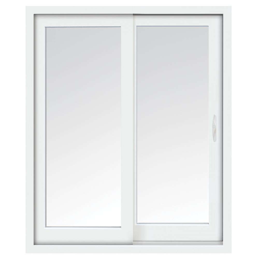 glacier white vinyl right hand low e sliding patio door with screen handle set and nailing fin - Sliding Patio Doors