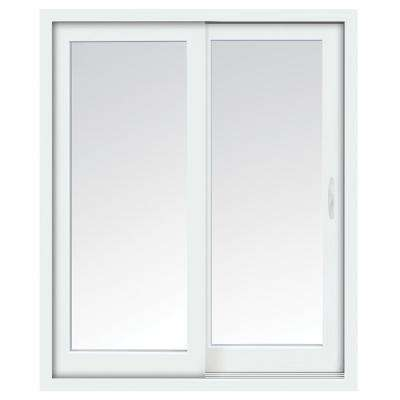 72 in. x 80 in. Glacier White Right-Hand Sliding Low-E Vinyl Patio Door with Screen, Handle Set and Nailing Fin