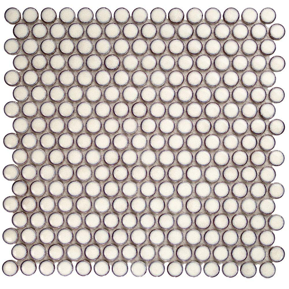 Splashback tile bliss edged penny round eskimo 12 in x 12 for Fan size for 12x12 room