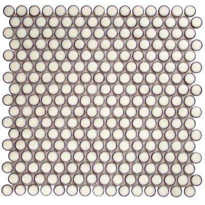 Bliss Edged Penny Round Eskimo 12 in. x 12 in. x 10 mm Polished Ceramic Mosaic Tile