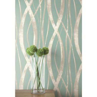 Barbados Metallic Silver and Aqua Weaving Wallpaper