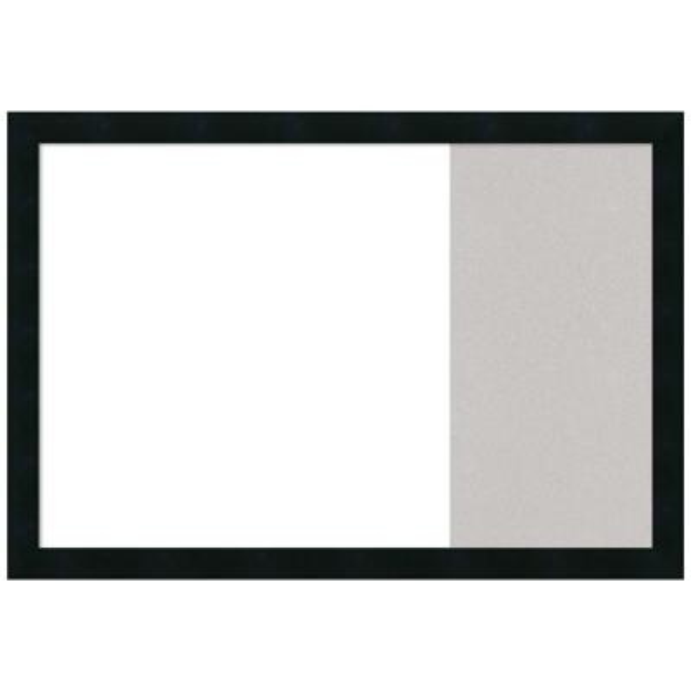 Mezzanotte Black 29 in. x 20 in. White Dry Erase and Grey Cork Wood Combo Memo Board