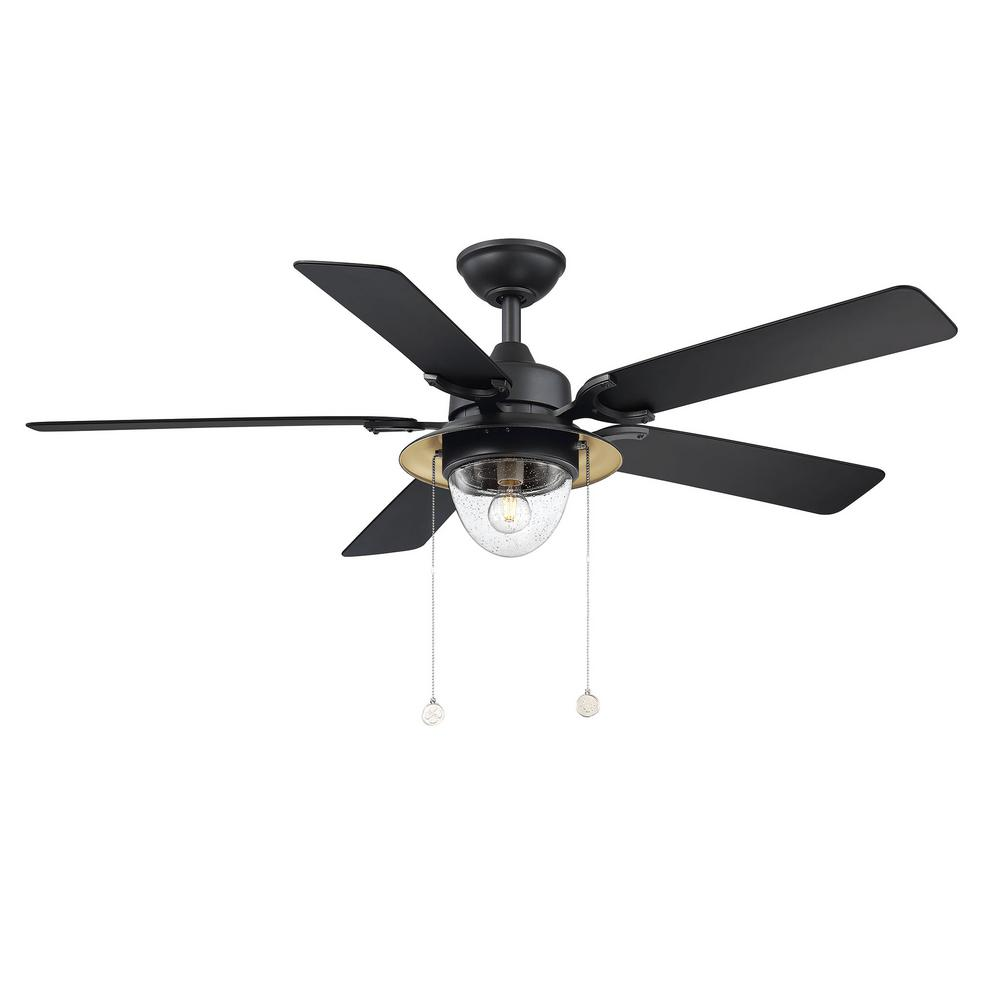 Home Decorators Collection Hanahan 52 in. LED Outdoor Textured Black Ceiling Fan with Light Kit