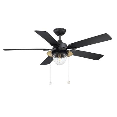 Hanahan 52 in. LED Outdoor Textured Black Ceiling Fan with Light Kit