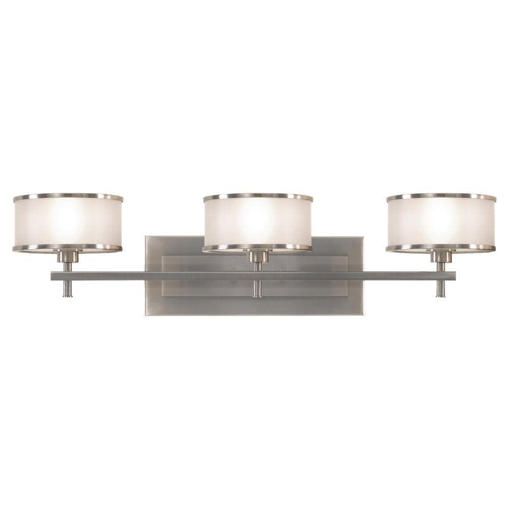 Casual Luxury 3-Light Brushed Steel Vanity Light