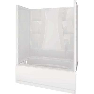 Classic 400 30 in. x 60 in. x 80 in. Standard Fit Bath and Shower Kit with Left-Hand Drain in White