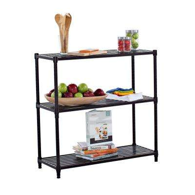 36 in. x 35 in. 3-Tier Dark Bronze Slat Decorative Shelf