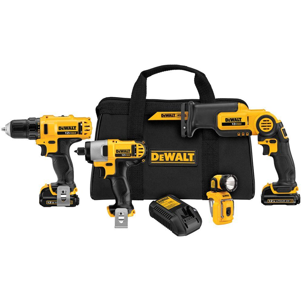 12-Volt MAX Lithium-Ion Cordless Combo Kit (4-Tool) with (2) Batteries 1.5Ah,