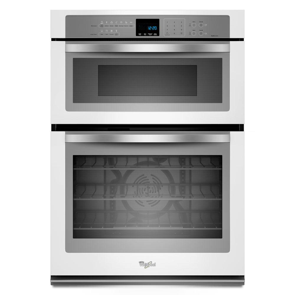 Whirlpool Gold 30 in. Electric Convection Wall Oven with Built-In Microwave in White Ice