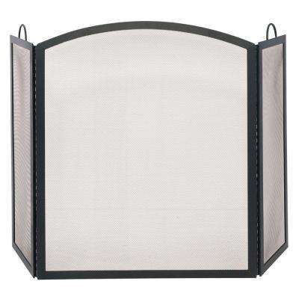Arch Top Black Wrought Iron 3-Panel Fireplace Screen, Medium