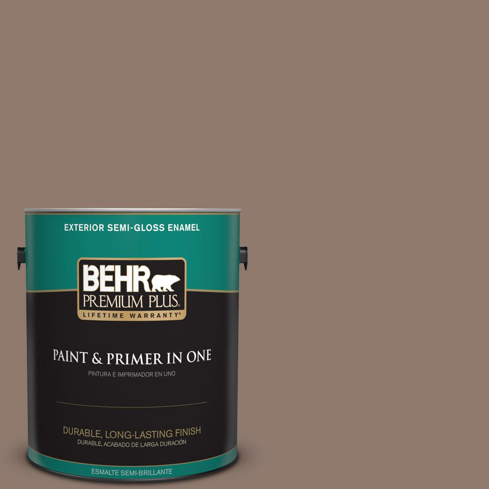 BEHR Premium Plus 1-gal. #N170-5 Chocolate Heart Semi-Gloss Enamel Exterior Paint