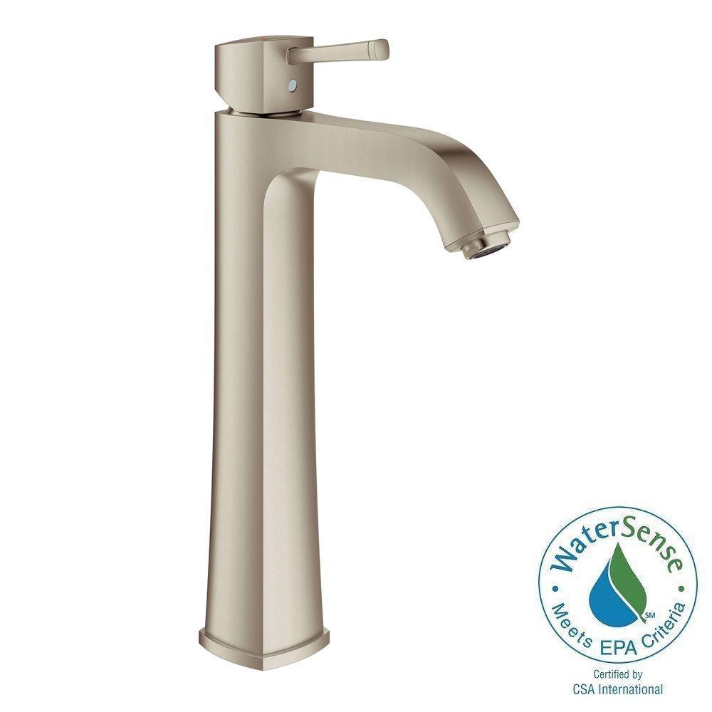 Grandera Single Hole Single-Handle Vessel Bathroom Faucet in Brushed Nickel InfinityFinish