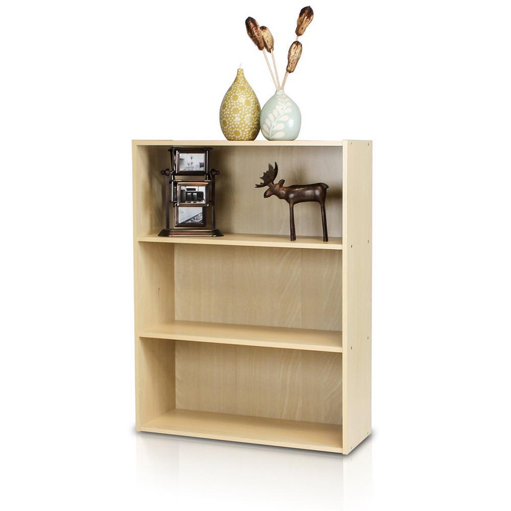 31.5 in. Steam Beech Wood 3-shelf Standard Bookcase with Storage