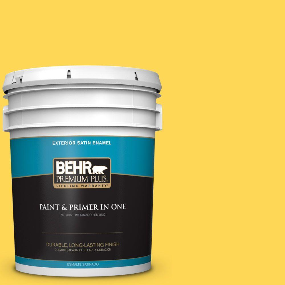 BEHR Premium Plus 5-gal. #P300-6 Buzzin Satin Enamel Exterior Paint